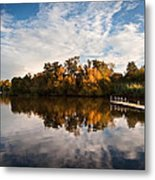Beautiful Sunset Over Autumn Fall Lake With Crystal Clear Reflec Metal Print by Matthew Gibson