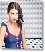 Beautiful Young Brunette Pin-up Woman  Metal Print
