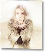 Beautiful Young Woman Blowing Snow In Winter Style Metal Print
