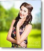 Beauty Girl. Beautiful Young Woman With Clean Skin Metal Print