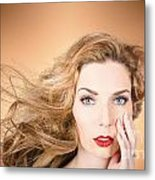 Beauty Portrait. Beautiful Woman And Long Red Hair Metal Print