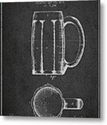 Beer Mug Patent From 1876 - Dark Metal Print