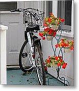 Bicycles And Geraniums Metal Print