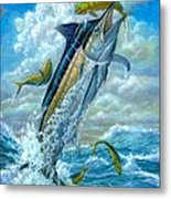 Big Jump Blue Marlin With Mahi Mahi Metal Print