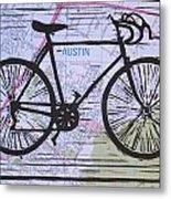 Bike 8 On Map Metal Print
