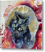 Black Cat In Gold Metal Print