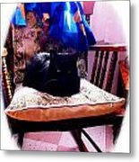 Black Cat With One White Whisker Metal Print