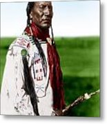 Blackfoot Man With Braided Sweet Grass Ropes Metal Print