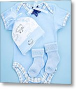 Blue Baby Clothes For Infant Boy Metal Print by Elena Elisseeva
