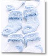 Blue Baby Socks Metal Print