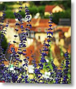 Blue Flowers And Rooftops In Sarlat Metal Print