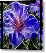 Blue Hibiscus Fractal Metal Print