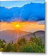 Blue Ridge Parkway Late Summer Appalachian Mountains Sunset West Metal Print
