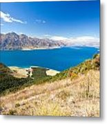 Blue Surface Of Lake Hawea In Central Otago In New Zealand Metal Print