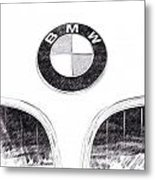 Bmw Z3 Emblem In Black Metal Print