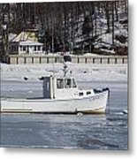 Boat And Ice Hobart Beach Ny Metal Print