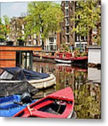 Boats On Canal In Amsterdam Metal Print