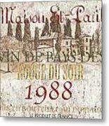 Bordeaux Blanc Label 1 Metal Print