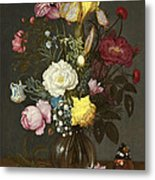 Bouquet Of Flowers In A Glass Vase Metal Print