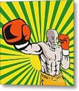 Boxer Boxing Jabbing Front Metal Print
