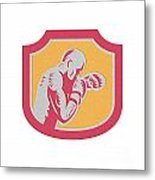 Boxer Boxing Jabbing Punch Side Shield Retro Metal Print
