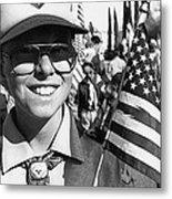 Boy Scout Veteran's Day Parade Tucson Arizona 1990 Black And White Metal Print