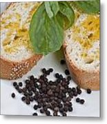 Bread And Olive Oil Metal Print