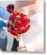 Bride Holding Red Rose Flower Bunch Metal Print