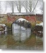 Bridge Over River In A Snowstorm Metal Print