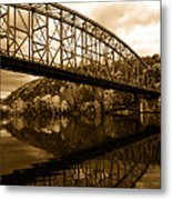 Bridge Reflections In Autumn Metal Print