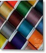 Bright Colored Spools Of Thread Metal Print