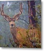 Buck Deer In A Mystical Foggy Forest Scene Metal Print