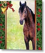 Buckskin Quarter Horse Christmas Card Metal Print