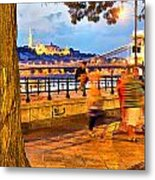 Budapest By Night Paint Metal Print