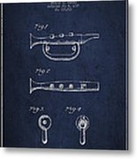 Bugle Call Instrument Patent Drawing From 1939 - Navy Blue Metal Print