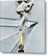 Bullet Shot Through Candle Flame Metal Print by Science Source