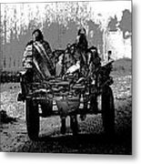 Bundled Up For The Cold In A Foggy Day In Rural India Metal Print