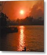 Bushfire Sunset Over The Lake Metal Print