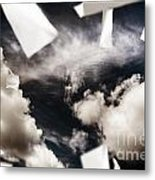 Business Papers Falling In The Sky Metal Print