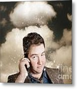 Businessman Having Bad Day. Communication Trouble Metal Print