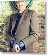 Businessman In Stress With Hands Bound Up Metal Print