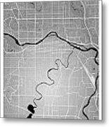 Calgary Street Map - Calgary Canada Road Map Art On Colored Back Metal Print