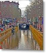 Canal Of Delft Metal Print