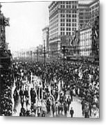 Canal Street In New Orleans Metal Print