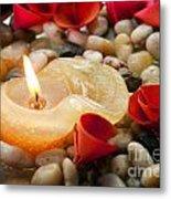 Candle And Petals Metal Print