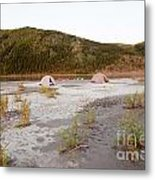 Canoe Tent Camp At Yukon River In Taiga Wilderness Metal Print