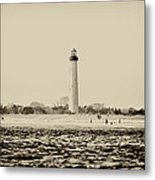 Cape May Lighthouse In Sepia Metal Print