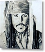 Johny Depp - The Captain Jack Sparrow Metal Print by Tanmay Singh