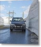 Car And Snow Wall Metal Print