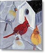 Cardinals In The  Snow Metal Print